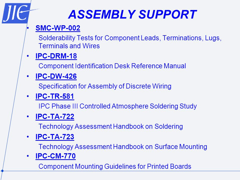 ASSEMBLY SUPPORT SMC-WP-002 IPC-DRM-18 IPC-DW-426 IPC-TR-581