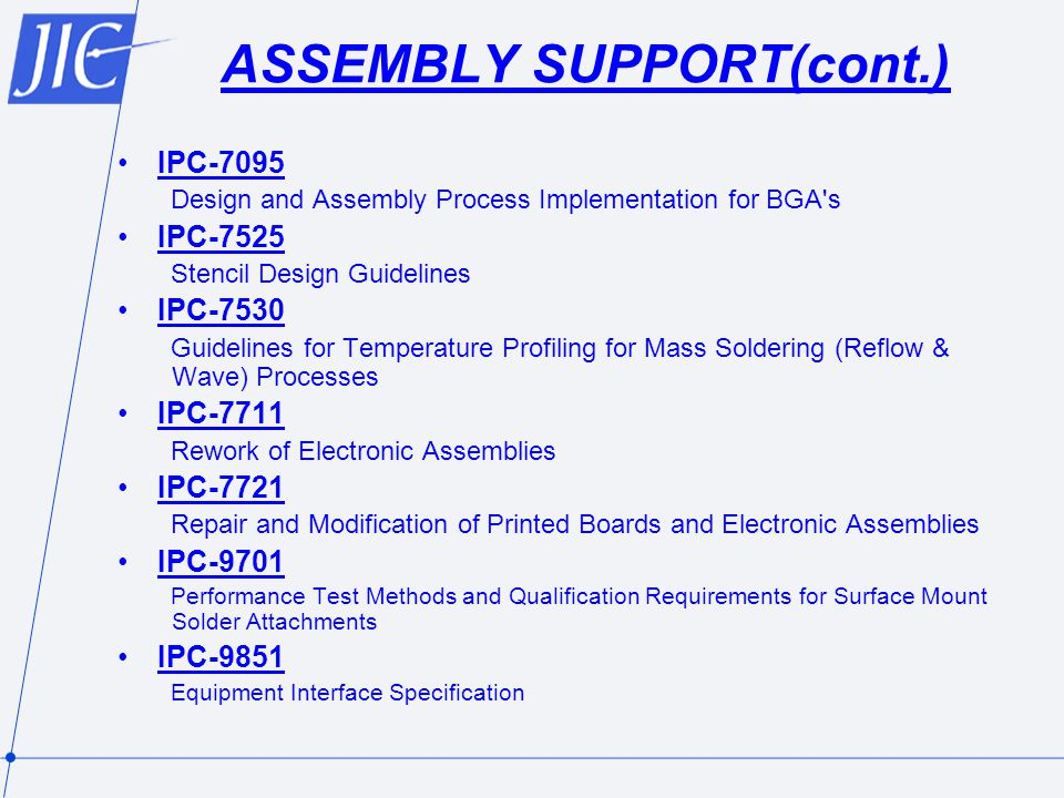 ASSEMBLY SUPPORT(cont.)