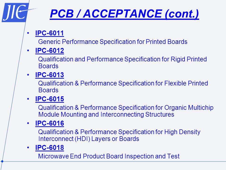 PCB / ACCEPTANCE (cont.)