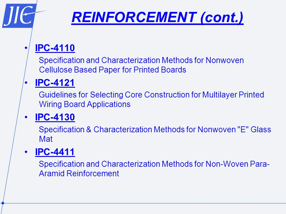 REINFORCEMENT (cont.) IPC-4110 IPC-4121 IPC-4130 IPC-4411
