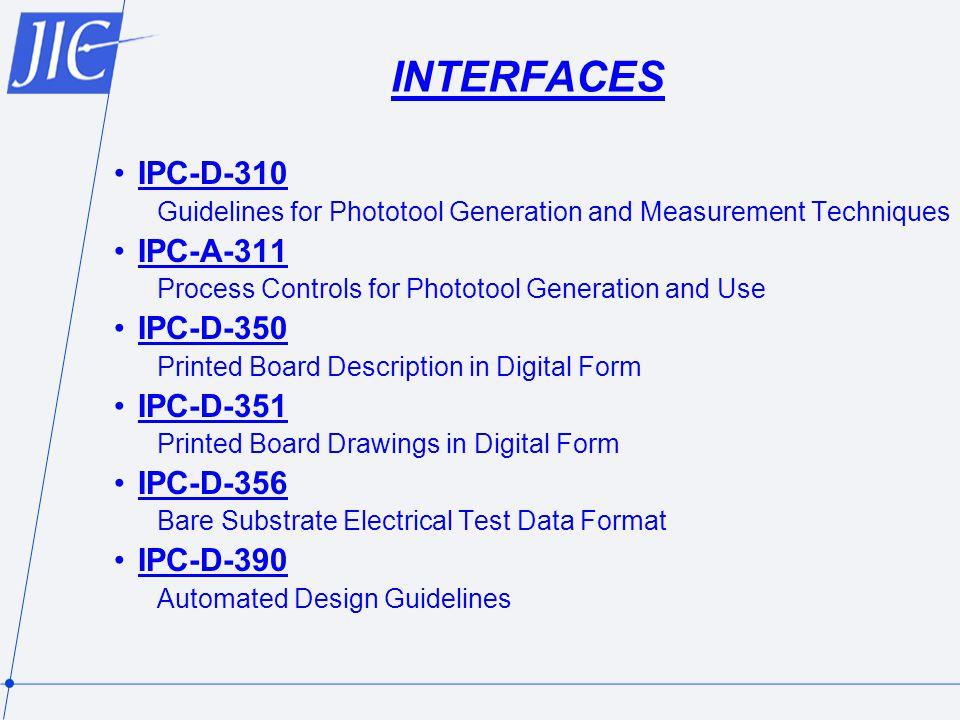 INTERFACES IPC-D-310 IPC-A-311 IPC-D-350 IPC-D-351 IPC-D-356 IPC-D-390