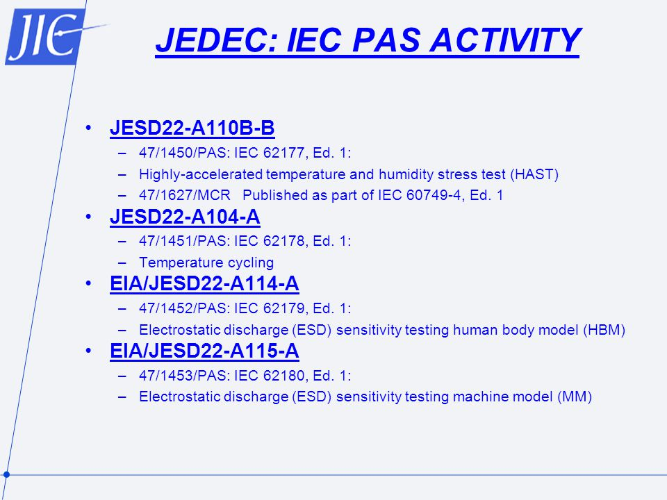 JEDEC: IEC PAS ACTIVITY