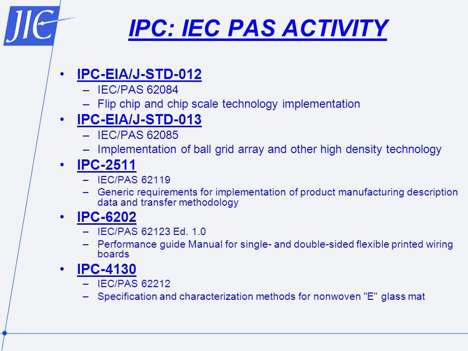 IPC: IEC PAS ACTIVITY IPC-EIA/J-STD-012 IPC-EIA/J-STD-013 IPC-2511