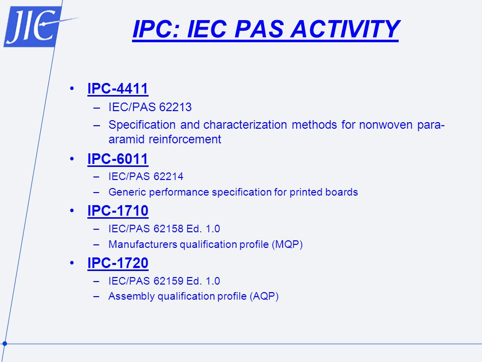 IPC: IEC PAS ACTIVITY IPC-4411 IPC-6011 IPC-1710 IPC-1720