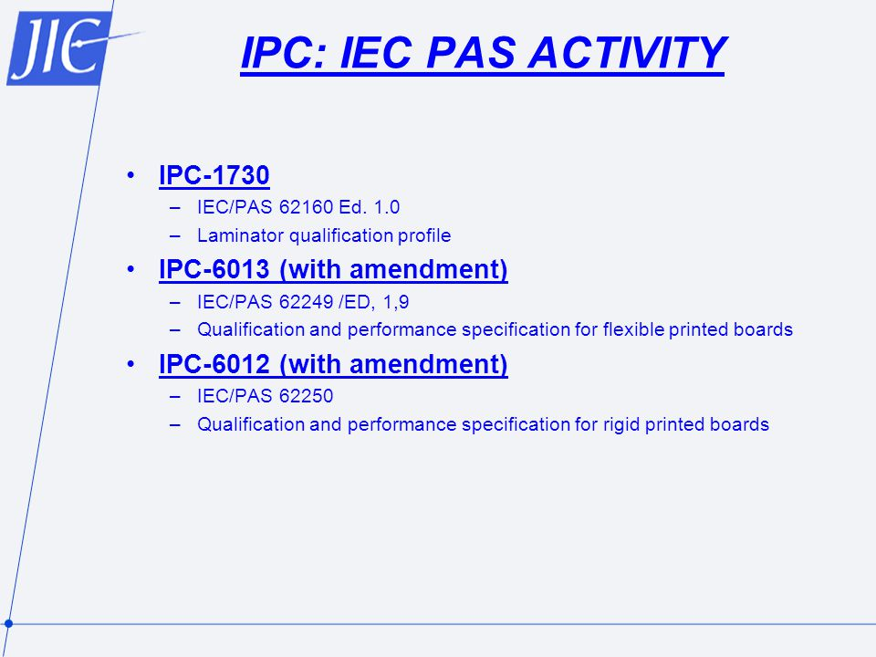 IPC: IEC PAS ACTIVITY IPC-1730 IPC-6013 (with amendment)