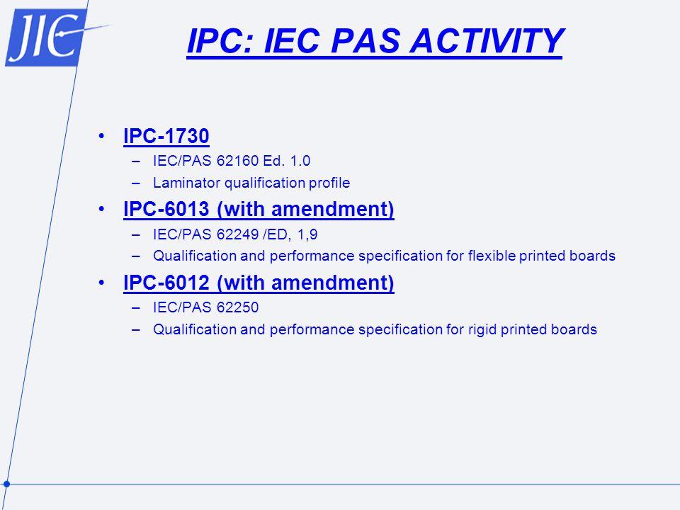 IPC: IEC PAS ACTIVITY IPC-1730 IPC-6013 (with amendment)