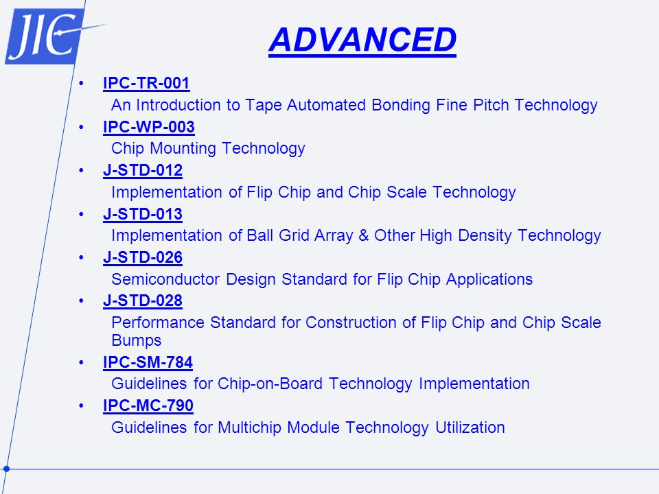 ADVANCED IPC-TR-001. An Introduction to Tape Automated Bonding Fine Pitch Technology. IPC-WP-003.
