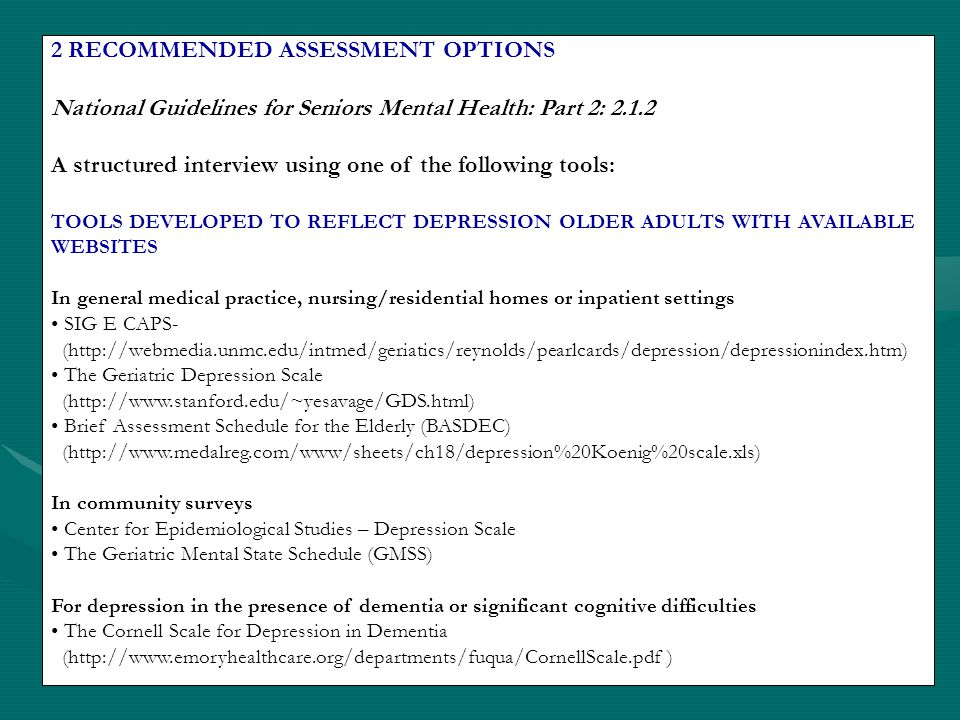 2 RECOMMENDED ASSESSMENT OPTIONS