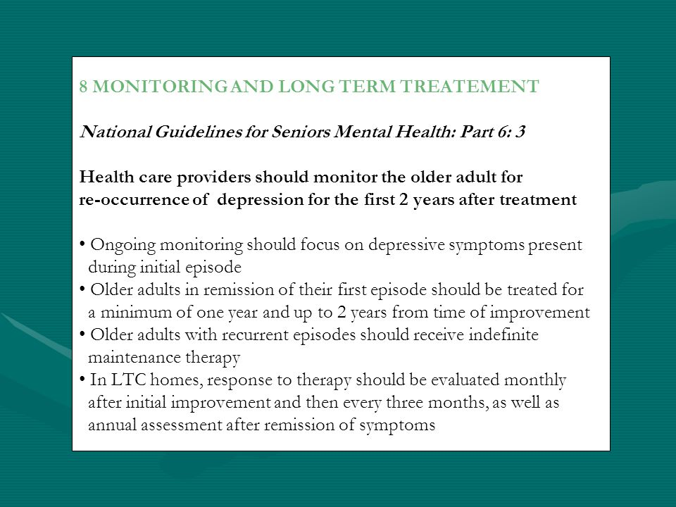 8 MONITORING AND LONG TERM TREATEMENT