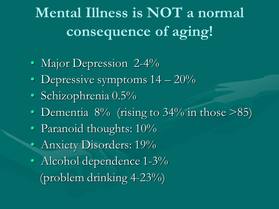 Mental Illness is NOT a normal consequence of aging!