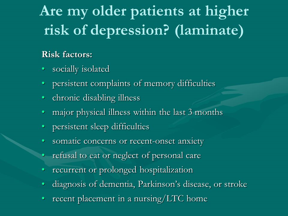 Are my older patients at higher risk of depression (laminate)