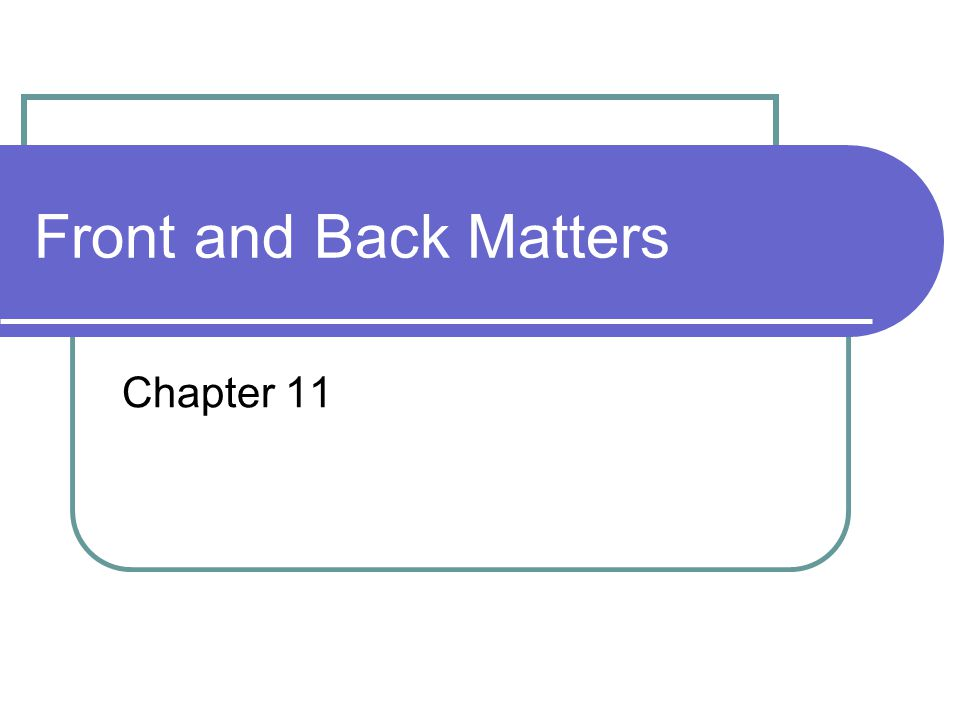 Front and Back Matters Chapter 11