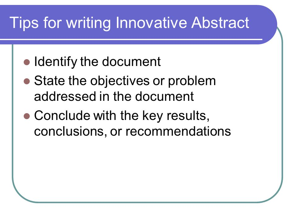 Tips for writing Innovative Abstract