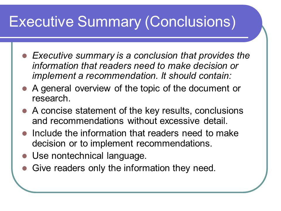 Executive Summary (Conclusions)