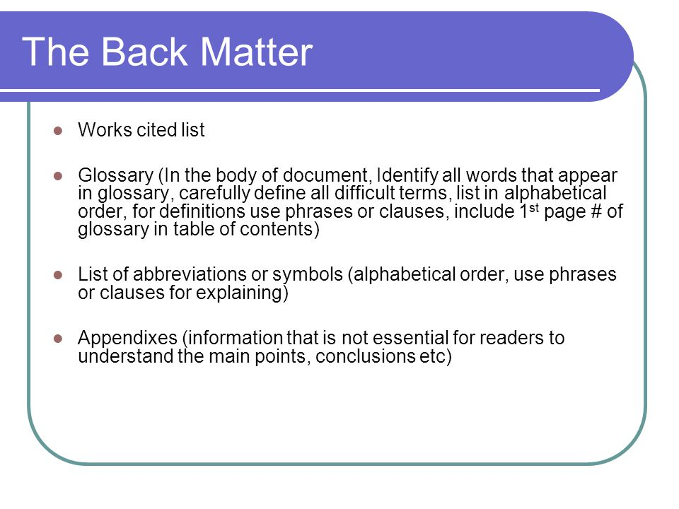 The Back Matter Works cited list