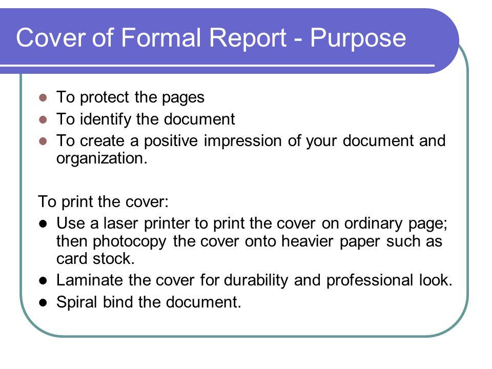 Cover of Formal Report - Purpose
