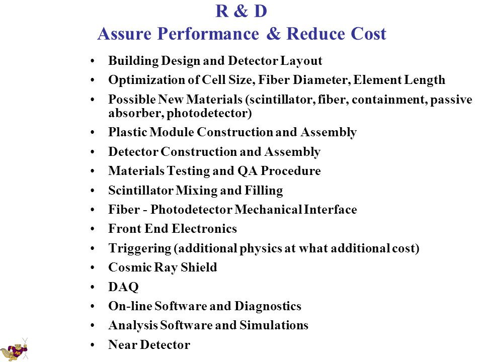 R & D Assure Performance & Reduce Cost