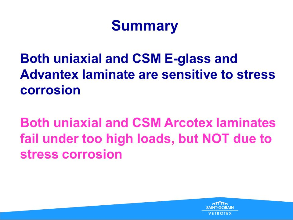 Summary Both uniaxial and CSM E-glass and Advantex laminate are sensitive to stress corrosion.