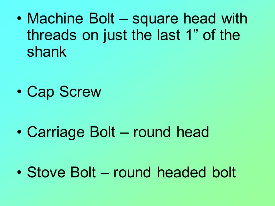 Machine Bolt – square head with threads on just the last 1 of the shank