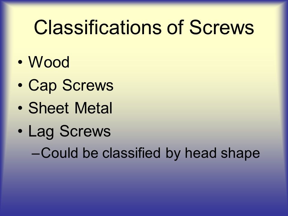 Classifications of Screws
