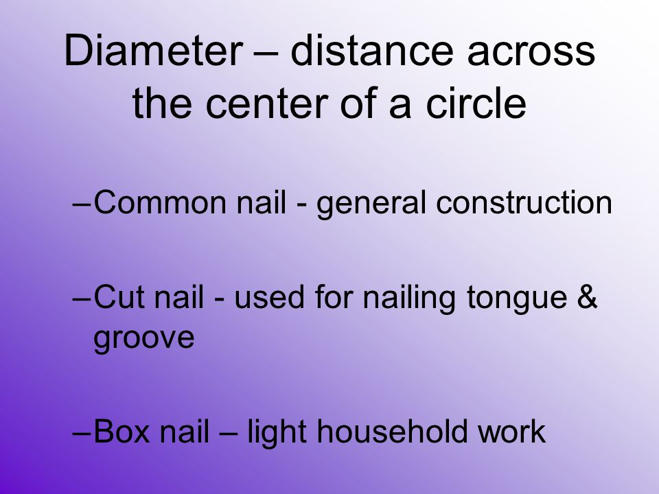 Diameter – distance across the center of a circle