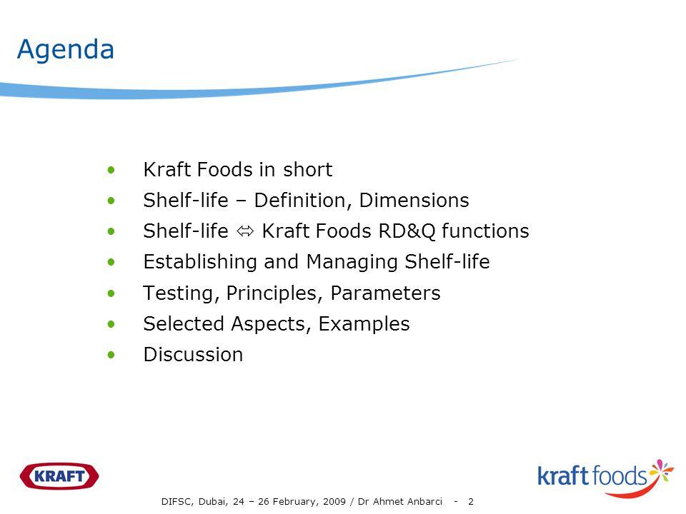 Agenda Kraft Foods in short Shelf-life – Definition, Dimensions