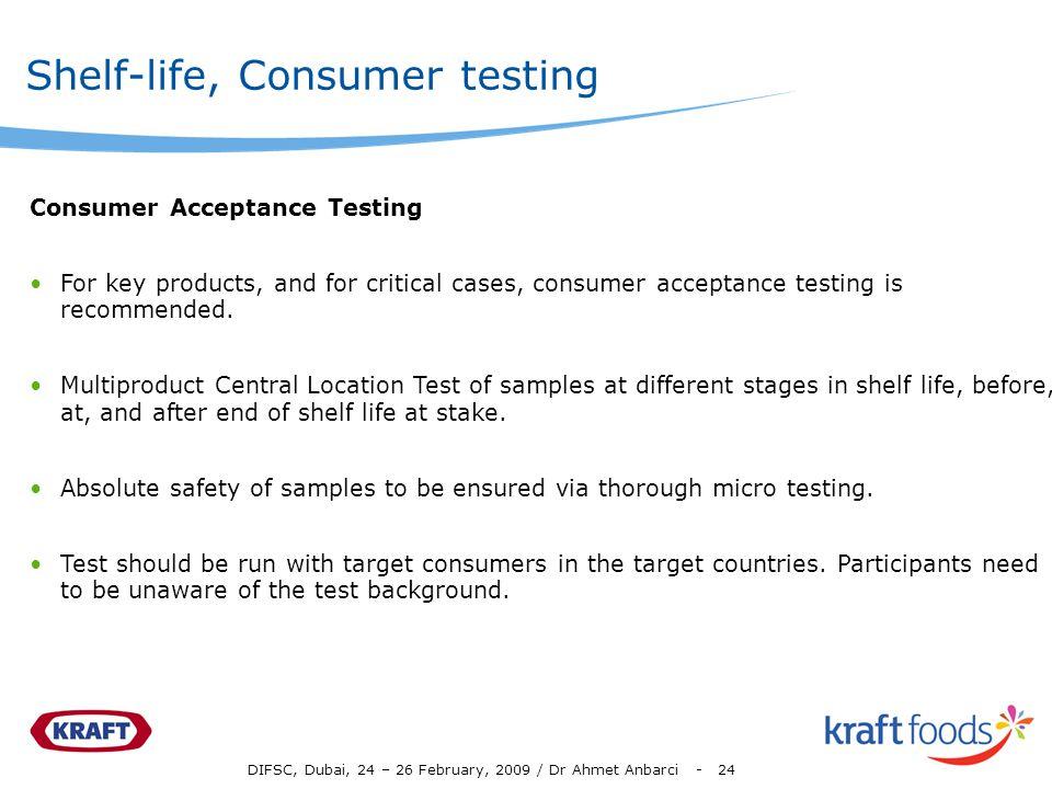 Shelf-life, Consumer testing