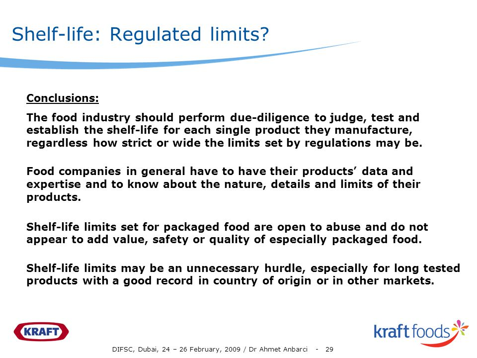 Shelf-life: Regulated limits