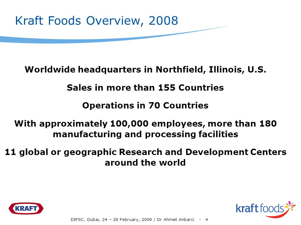 Kraft Foods Overview, 2008 Worldwide headquarters in Northfield, Illinois, U.S. Sales in more than 155 Countries.