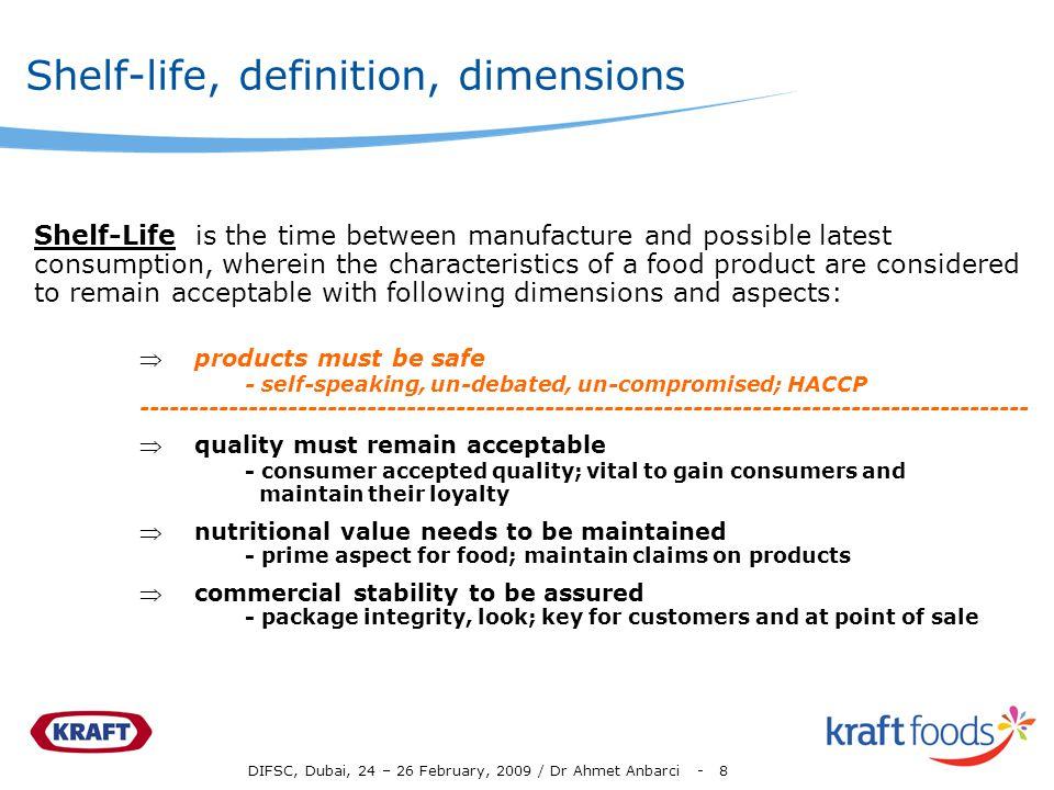Shelf-life, definition, dimensions