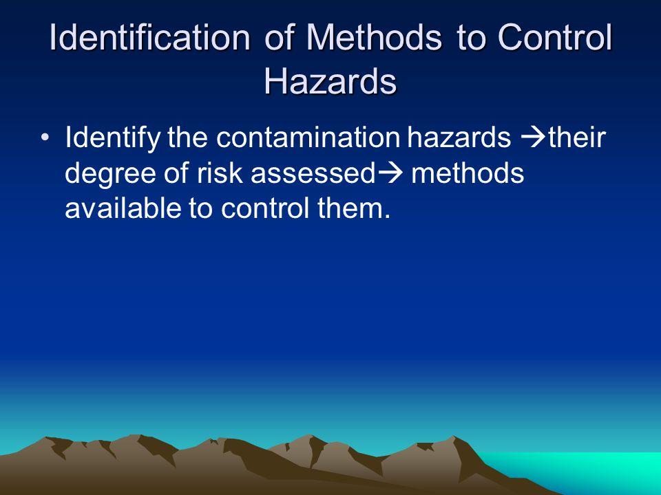 Identification of Methods to Control Hazards