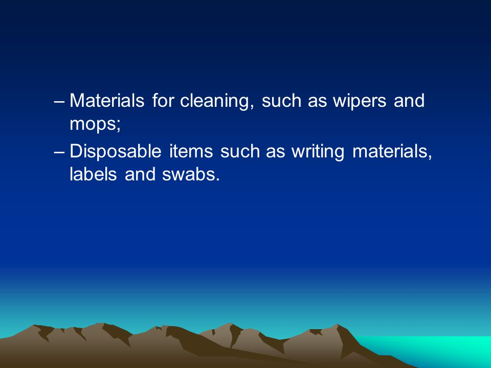 Materials for cleaning, such as wipers and mops;