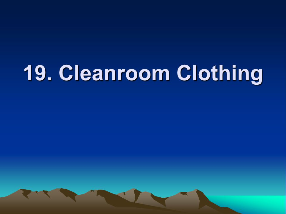 19. Cleanroom Clothing