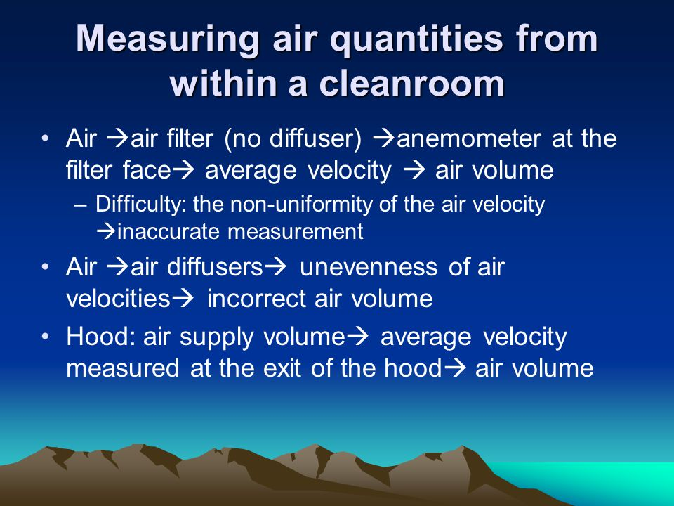 Measuring air quantities from within a cleanroom