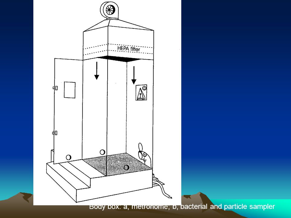 Body box: a, metronome; b, bacterial and particle sampler