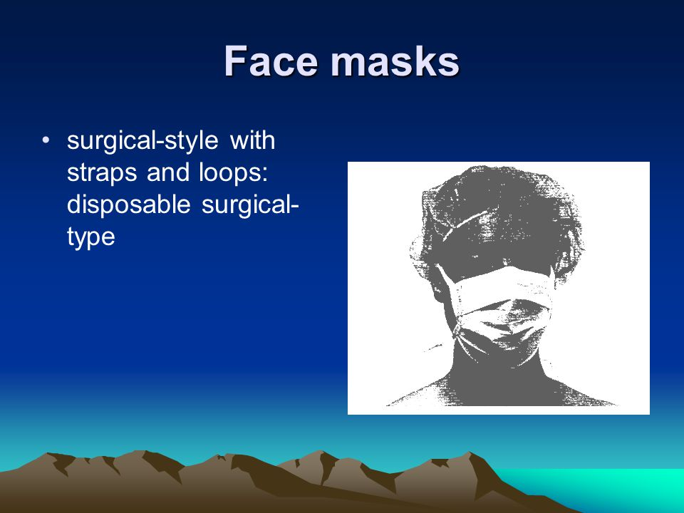 Face masks surgical-style with straps and loops: disposable surgical-type