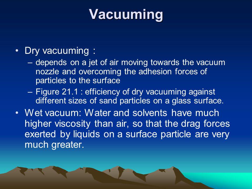 Vacuuming Dry vacuuming :