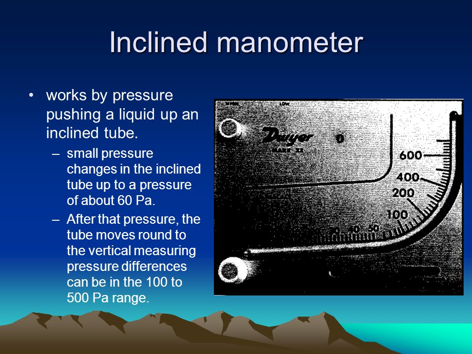 Inclined manometer works by pressure pushing a liquid up an inclined tube.