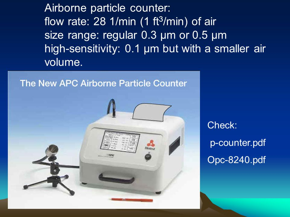 Airborne particle counter: flow rate: 28 1/min (1 ft3/min) of air