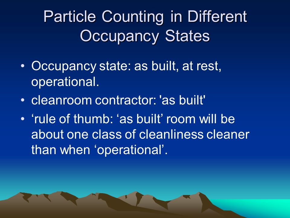 Particle Counting in Different Occupancy States
