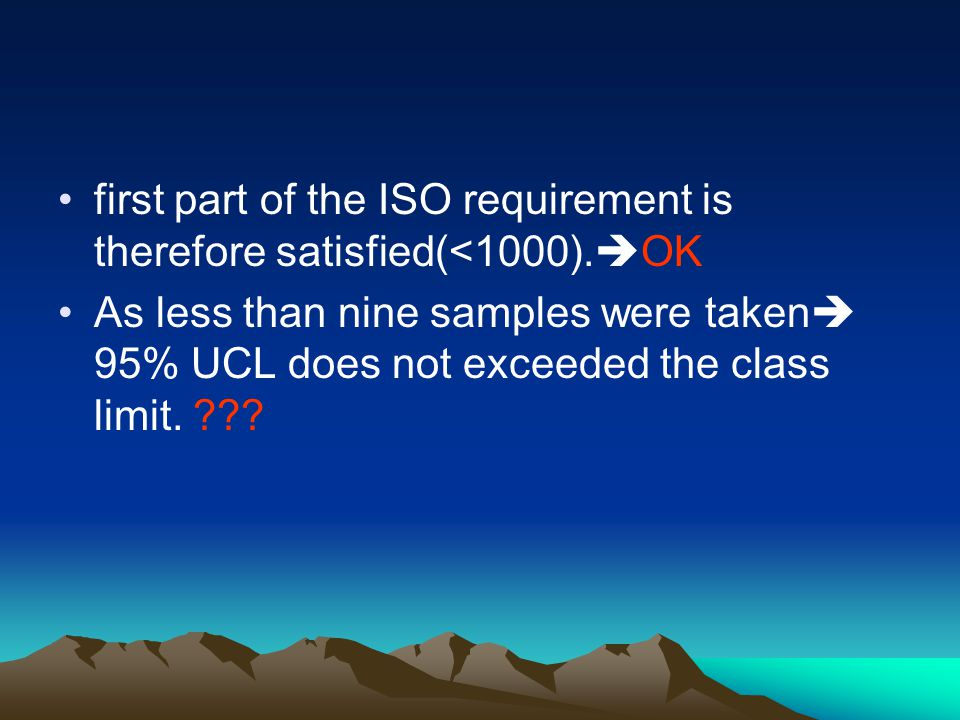 first part of the ISO requirement is therefore satisfied(<1000).OK