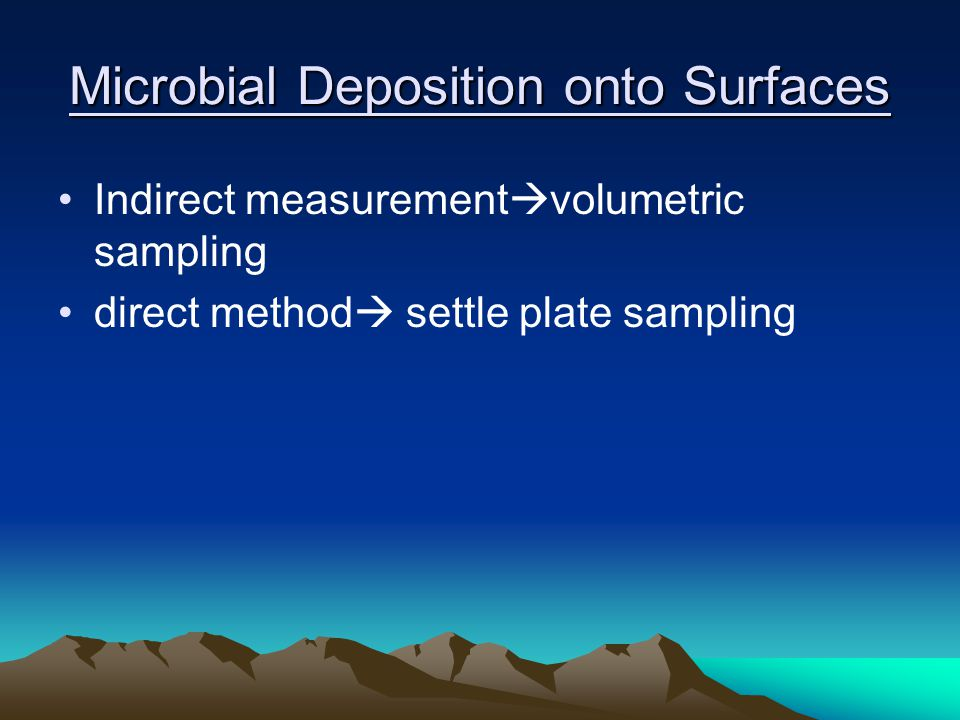 Microbial Deposition onto Surfaces