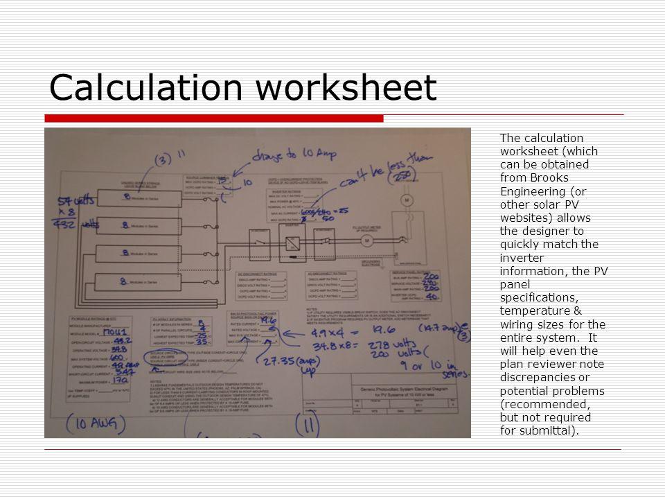 Calculation worksheet