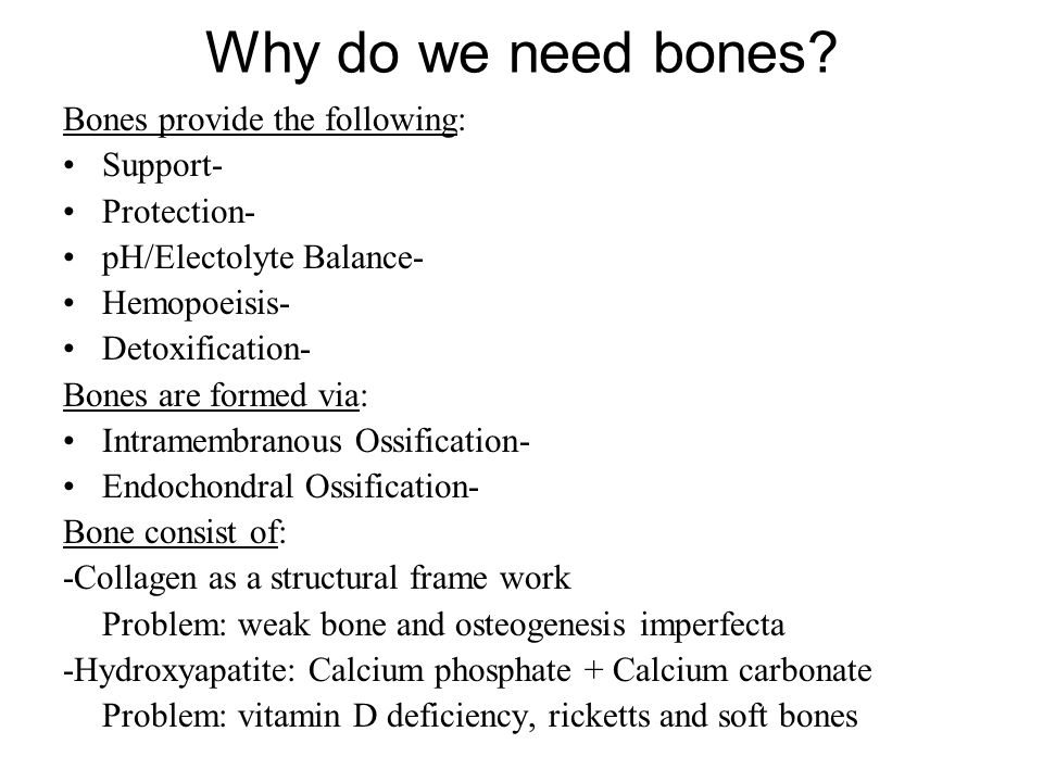 Why do we need bones Bones provide the following: Support-