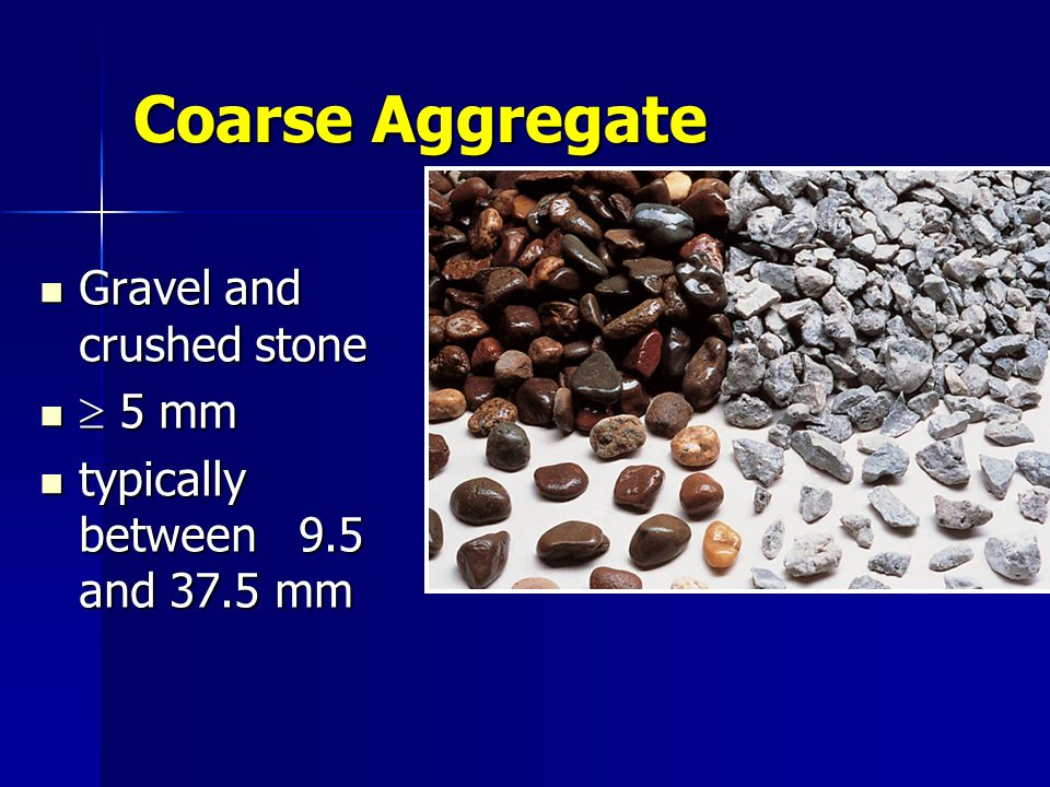 Coarse Aggregate Gravel and crushed stone  5 mm