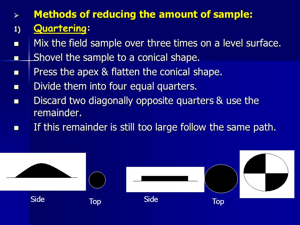Methods of reducing the amount of sample: Quartering: