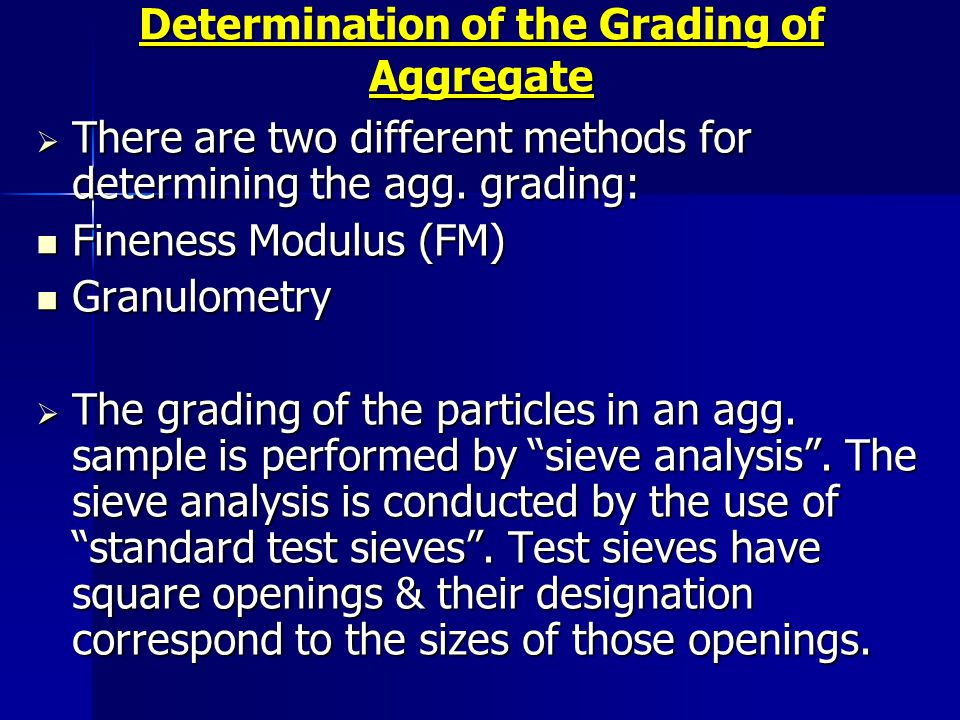 Determination of the Grading of Aggregate