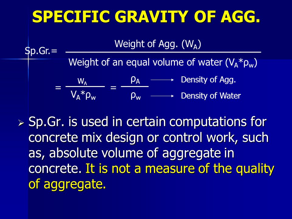 SPECIFIC GRAVITY OF AGG.
