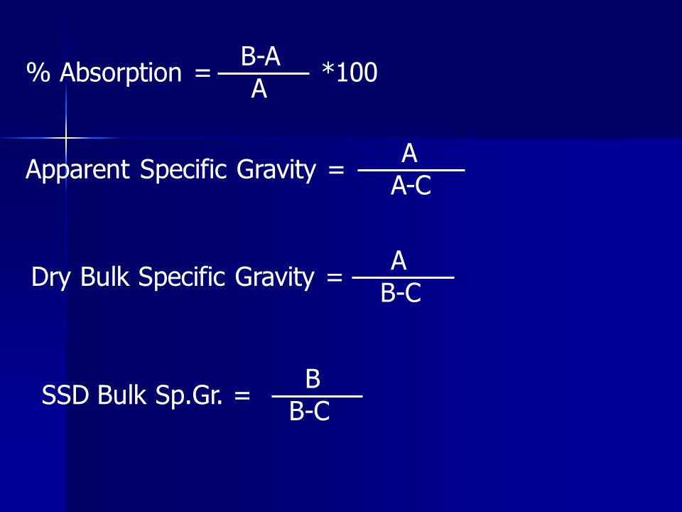 % Absorption = B-A. A. *100. Apparent Specific Gravity = A. A-C. Dry Bulk Specific Gravity = A.