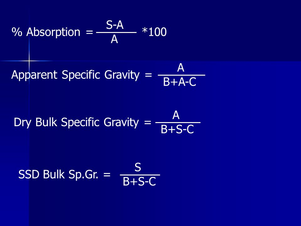 % Absorption = S-A. A. *100. Apparent Specific Gravity = A. B+A-C. Dry Bulk Specific Gravity =